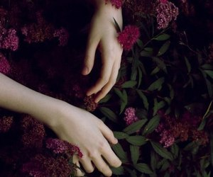 dark, flowers, and hands image