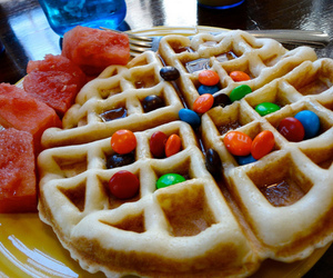 food, delicious, and waffles image