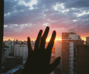 sky, sunset, and hand image