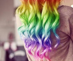 hair, rainbow, and colorful image