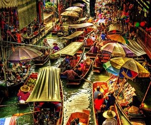 thailand, market, and boat image