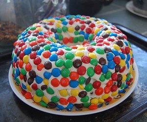 cake, food, and m&m's image