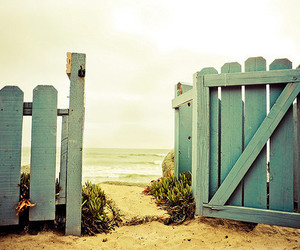 beach, gate, and blue image