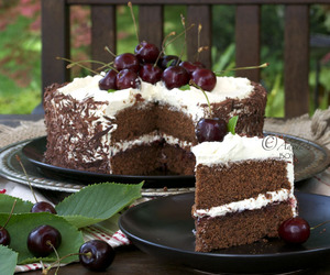 black forest, chocolate, and cake image