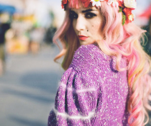 audrey kitching, eyeliner, and flowers image