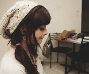 girl, hair, and beanie image