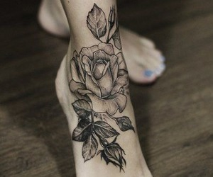 tattoo, rose, and feet image