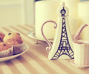 bule, cakes, and eiffel image