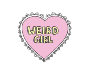 girl, weird, and heart image