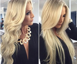 blonde, long hair, and hair image