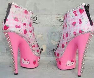 hello kitty, pink, and shoes image