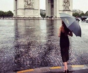 girl, paris, and rain image