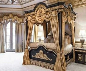bedroom, luxurious, and black. tan image
