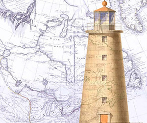 lighthouse, map, and nautic image