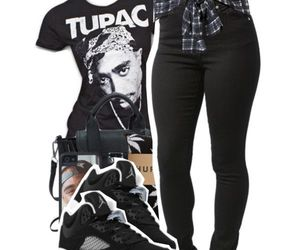 jeans, top, and tupac image