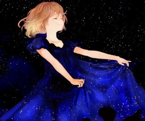 girl, anime, and stars image