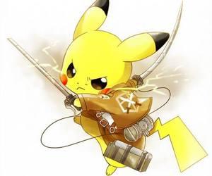 pikachu, pokemon, and attack on titan image