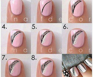 nails, pink, and feather image