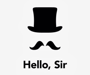 hat, mustasche, and hello image