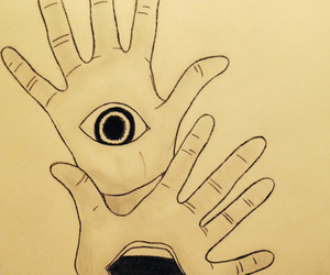 drawing, eye, and hands image