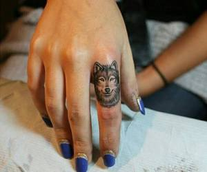 tattoo, finger, and wolf image