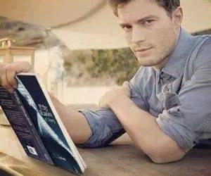 christian grey, Jamie Dornan, and book image