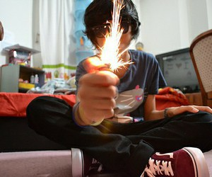 black hair, cute boy, and fire image