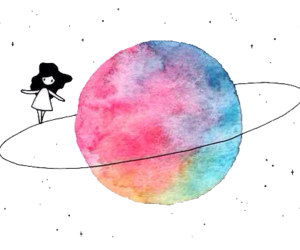 planet, girl, and moon image