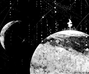 anime girl, galaxy, and black&white image