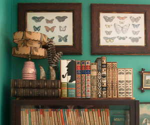 books, butterflies, and retro image