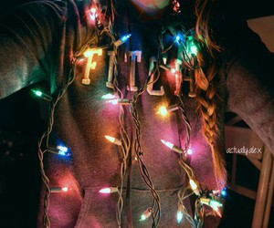 fairylights, grey sweaters, and tumblr girl image