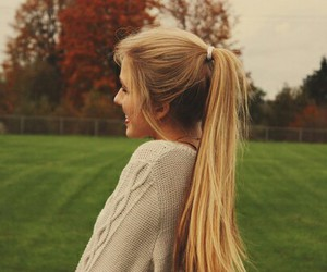 blonde, girl, and autumn image
