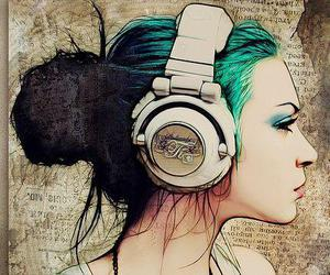 girl, music, and art image