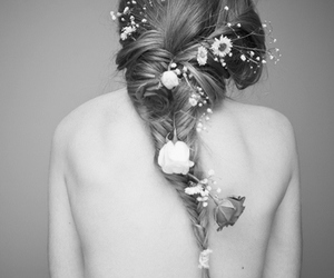 black and white, girl, and flovers image