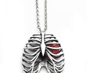 stainless steel and ribcage necklace image