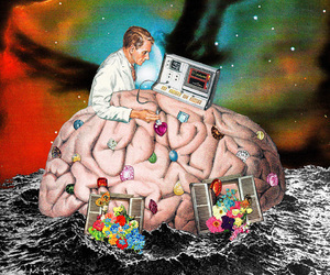 brain, psychedelic, and Collage image