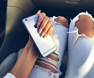 iphone, jeans, and nails image