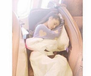 ariana grande, sleeping, and airplane image