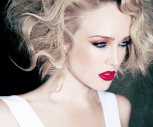 beautiful, red lips, and blonde image
