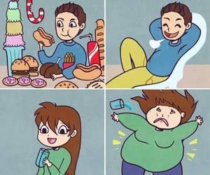 girl, boy, and food image
