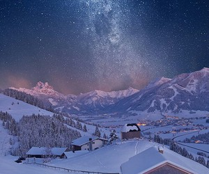 lights, mountains, and winter image