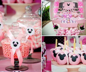 minnie mouse theme, cute party idea, and pink party idea image
