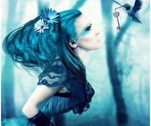 girl, key, and blue image