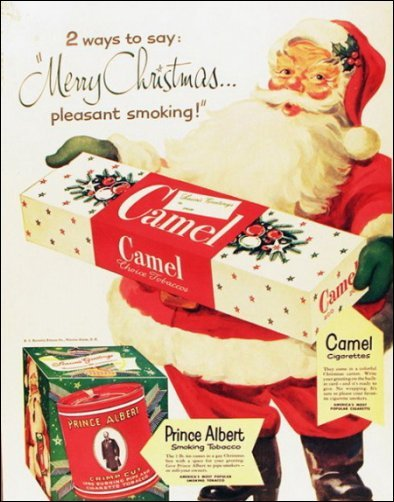 cigarettes, funny, and santa image