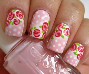 pink, nails, and floral image