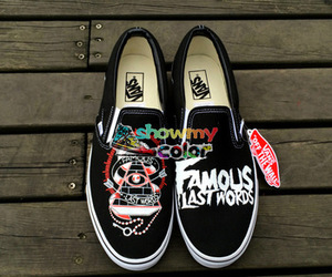 custom shoes, vans shoes, and famous last words image
