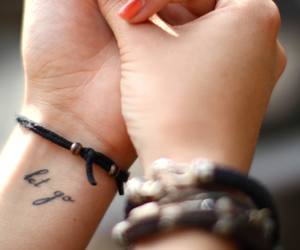 bracelet, photography, and hands image