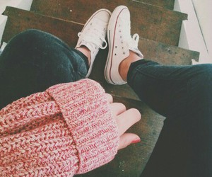 converse, pink, and sweater image