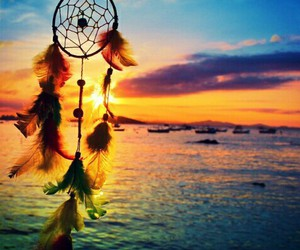 Dream, sunset, and dreamcatcher image