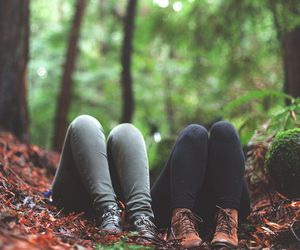friends, autumn, and forest image